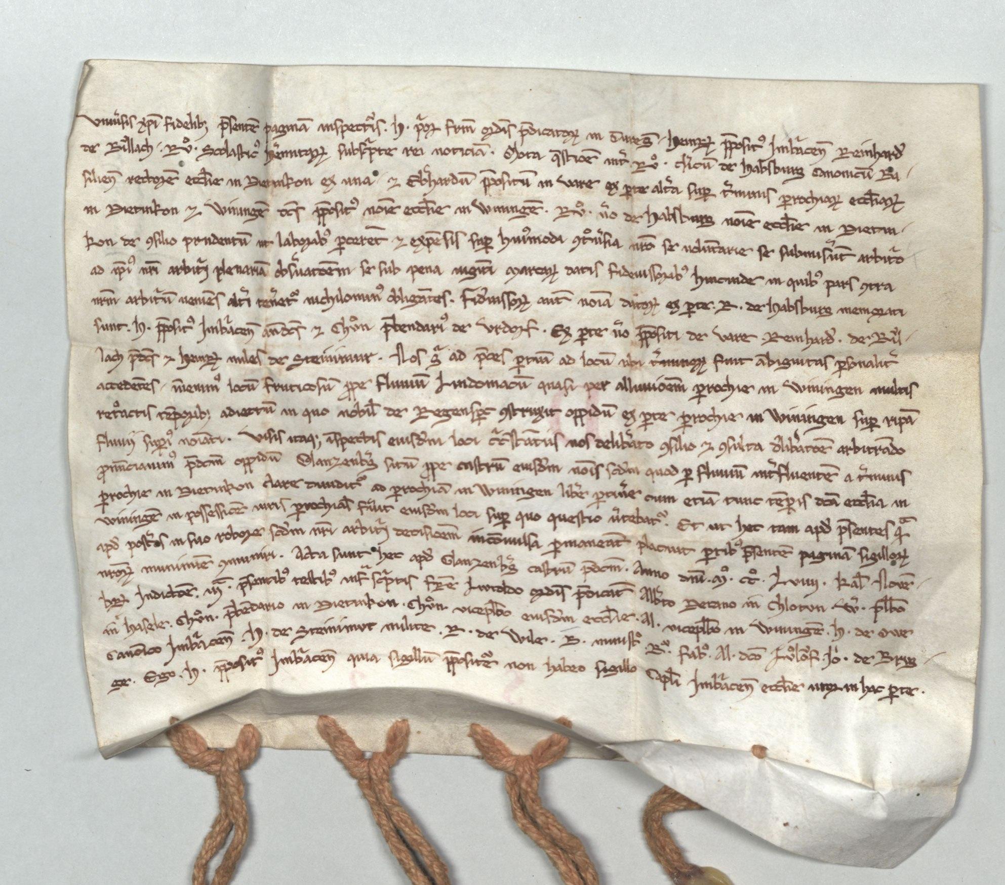 Einsiedeln, Klosterarchiv Einsiedeln, Urkunde 119 (KAE D S 3-r)